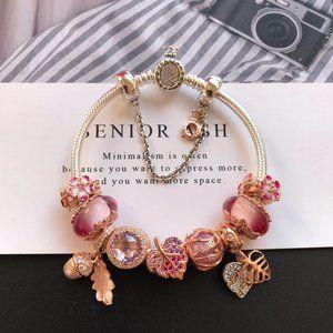 🐯Pandora Jewelry 'Pink Plant Series' Bracelet